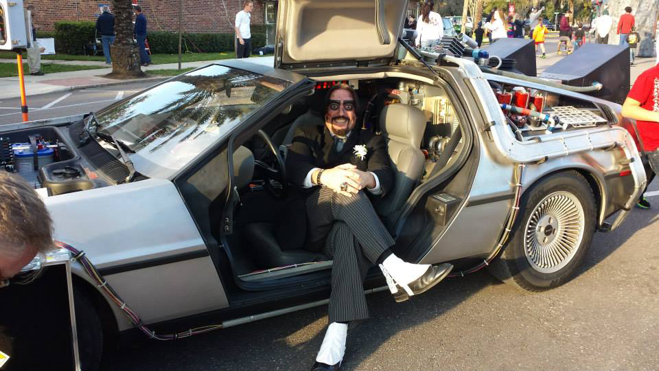 Dr. Paul Bearer in a Delorean