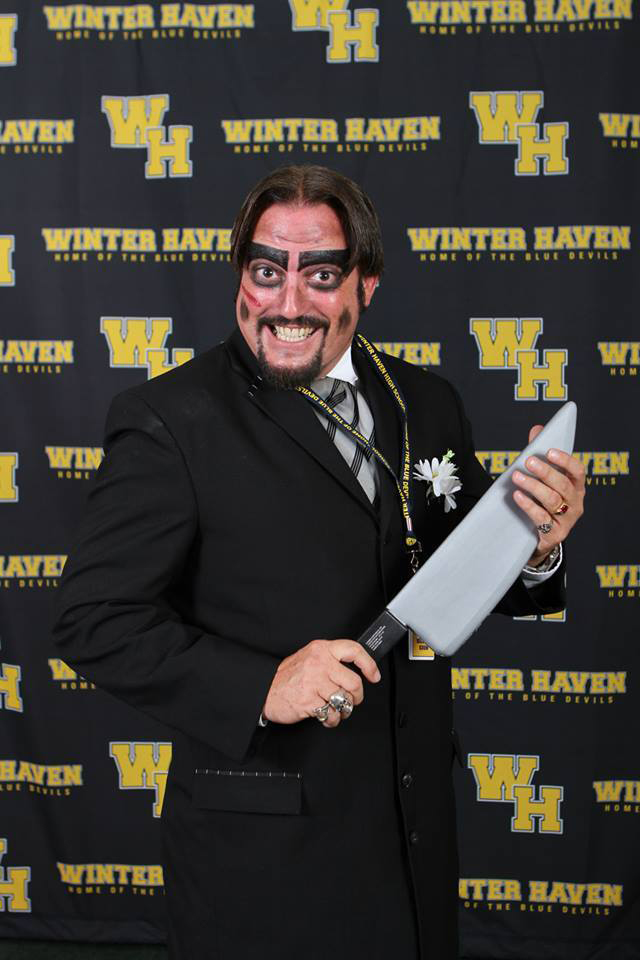 Dr. Paul Bearer with a knife