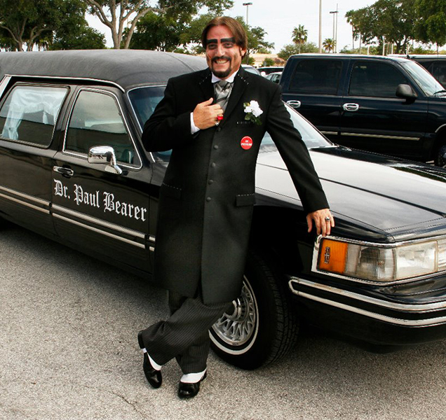 Dr. Paul Bearer with his hearse